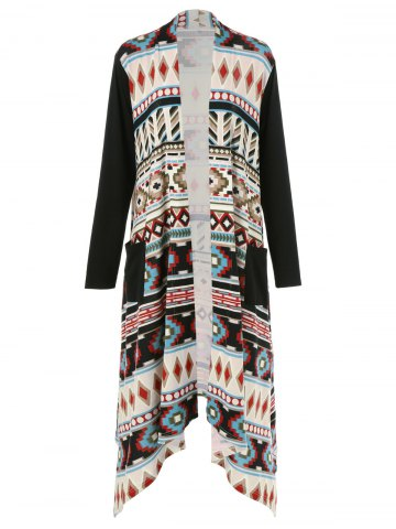 Shops Plus Size Ornate Print Asymmetric Cardigan COLORMIX 2XL