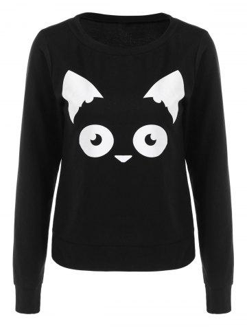 Sweat-shirt à Motif Chaton Noir XL