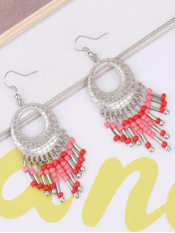 Statement Hollow Out Beads Hook Earrings - Red