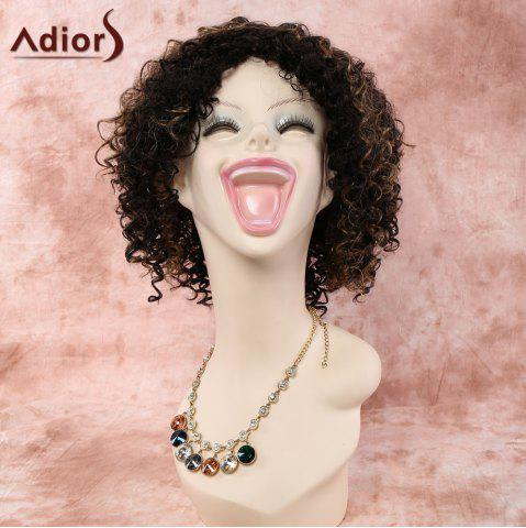 Stylish Short Side Bang Mixed Color Afro Curly Women's Synthetic Wig - Colormix