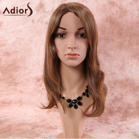 Long Natural Straight Oblique Bang Synthetic Wig - Bronze-colored