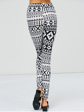 Buy Strench Two Tone Geometrical Bodycon Leggings - XL WHITE AND BLACK Mobile