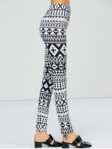 Trendy Strench Two Tone Geometrical Bodycon Leggings - L WHITE AND BLACK Mobile