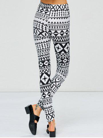 Unique Strench Two Tone Geometrical Bodycon Leggings - M WHITE AND BLACK Mobile