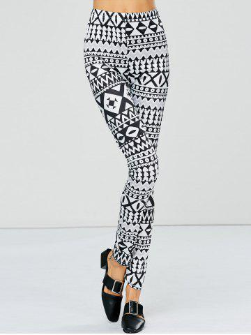 Fancy Strench Two Tone Geometrical Bodycon Leggings - M WHITE AND BLACK Mobile