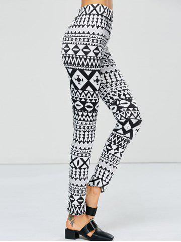 Trendy Strench Two Tone Geometrical Bodycon Leggings - M WHITE AND BLACK Mobile