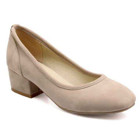 Affordable Chunky Heel Square Toe Flock Pumps - 39 APRICOT Mobile