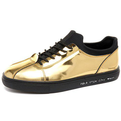 Stretch Fabric Patent Leather Casual Shoes - Golden - 43