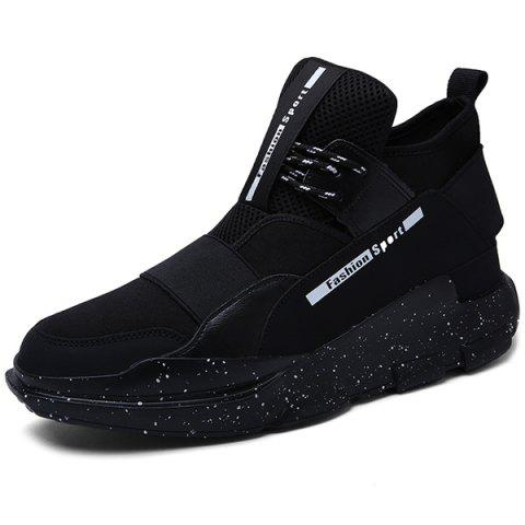 Discount PU Leather Stretch Fabric Athetic Shoes - 42 BLACK Mobile