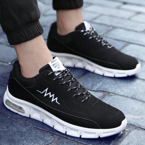 Buy Suede Tie Up Athletic Shoes - 40 WHITE AND BLACK Mobile