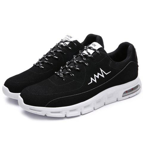 Unique Suede Tie Up Athletic Shoes - 40 WHITE AND BLACK Mobile