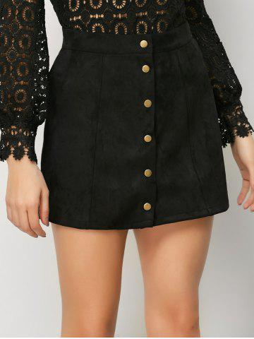 Outfit Mini Suede Button Up Skirt