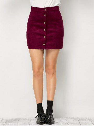 Sale Mini Suede Button Up Skirt