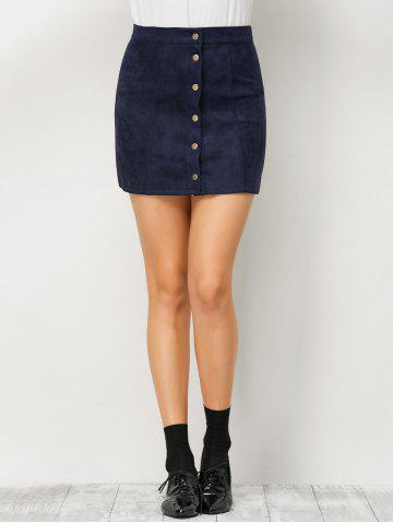 New Mini Suede Button Up Skirt