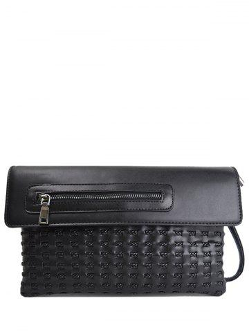 Woven Hollow Out Clutch Bag - BLACK