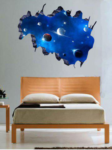 Living Room 3D Galaxy Space Planet Wall Stickers - Deep Blue - 48.5*68cm