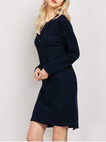 Discount Plus Size Long Sleeve Ribbed Jumper Casual Knit Dress