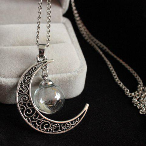 Moon Dandelion Glass Ball Necklace - Silver