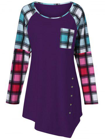 Fancy Raglan Sleeve Plaid Plus Size Tee DEEP PURPLE 3XL