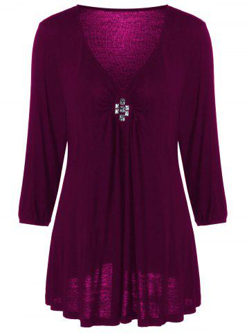 Fashion Plus Size V Neck Rhinestone Decorated Blouse