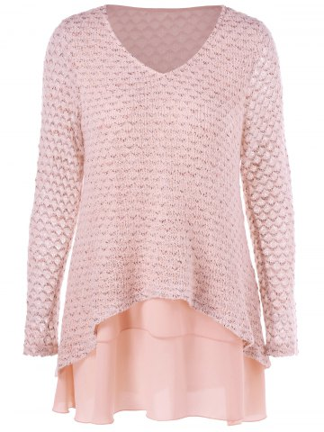 V Neck Layered Long Sleeve Pullover Sweater - Nude Pink - M
