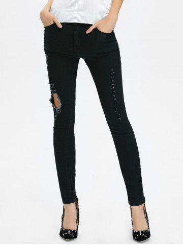 Sale High Rise Ripped Pencil Jeans - 2XL BLACK Mobile