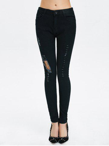New High Rise Ripped Pencil Jeans - 2XL BLACK Mobile