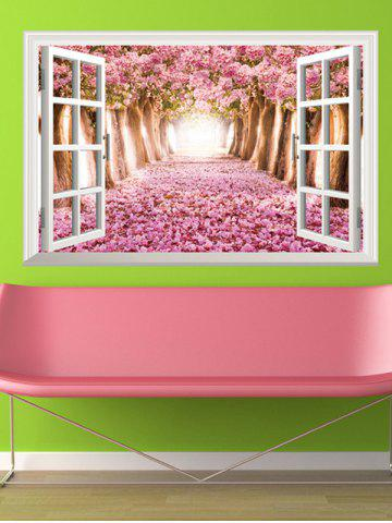 Unique 3D Floral Window Design Living Room Removable Wall Stickers - PINK  Mobile