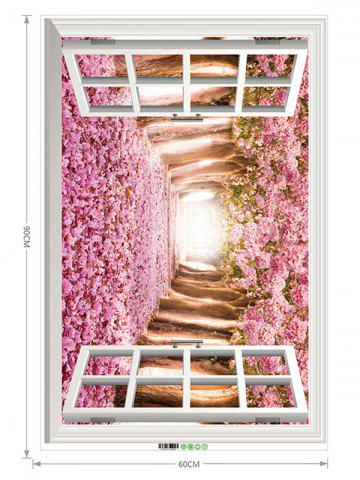 Shops 3D Floral Window Design Living Room Removable Wall Stickers - PINK  Mobile
