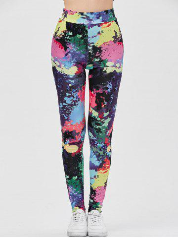 Outfits Splatter Paint Yoga Running Leggings - S COLORMIX Mobile