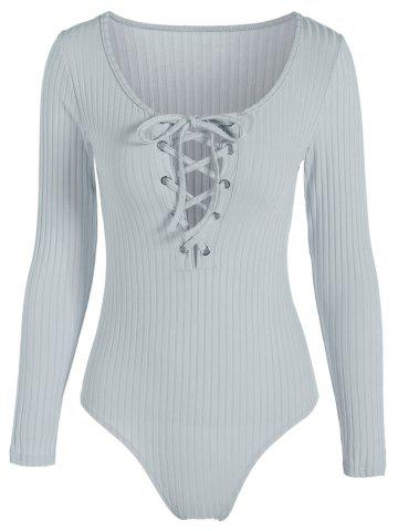 Long Sleeve Spandex Scoop Neck Lace Up Ribbed Bodysuit - Greyish Green - S