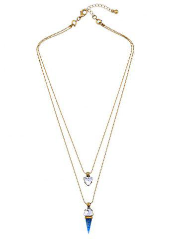 Artificial Gem Triangle Layered Necklace - GOLDEN