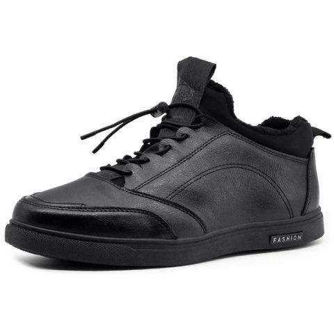 Trendy Faux Leather Lace Up Casual Shoes BLACK 42