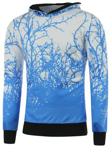 Sale Hooded 3D Tree Branch Print Hoodie BLUE M