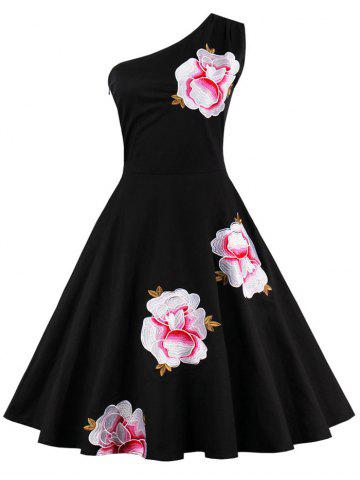 Cheap One Shoulder Embroidered Cute Swing Skater Dress BLACK L