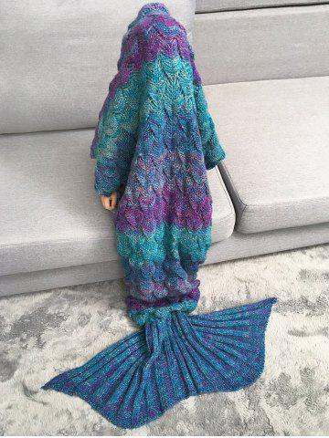 Warmth Knitted Fish Scales Mermaid Blanket For Kids - Colormix