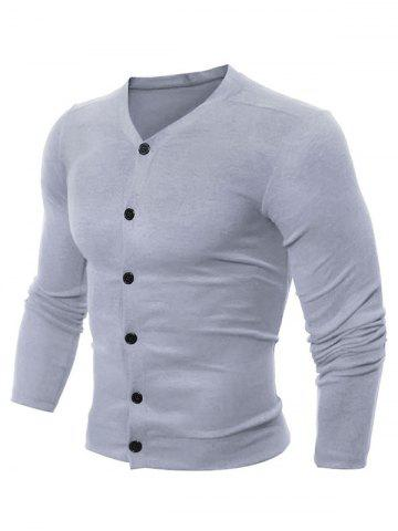 Casual V Neck Button Up Cardigan - Light Gray - M