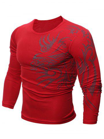 Affordable Tattoo Print Round Neck T-Shirt - L RED Mobile