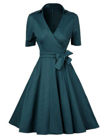 Fancy V  Neck Vintage Low Cut Wrap Dress With Short Sleeves BLACKISH GREEN S