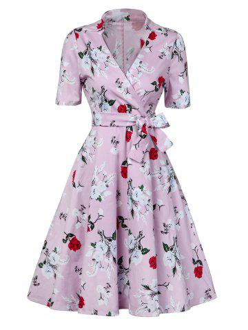 Store Floral Print Low Cut Wrap Around Formal Dress
