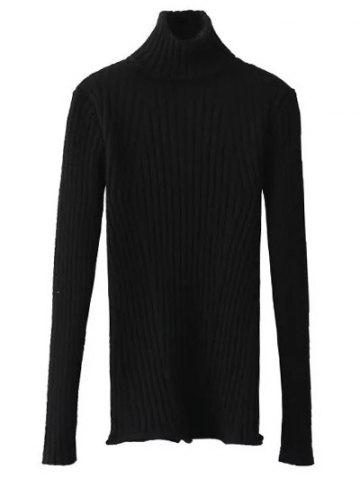 Ribbed Turtleneck Jumper - Black - One Size