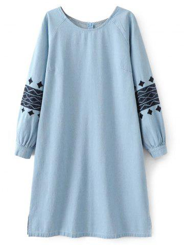 Store Embroidered Sleeve Denim Tunic Dress
