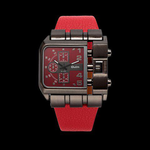 New Vintage Artificial Leather Watchband Quartz Watch RED