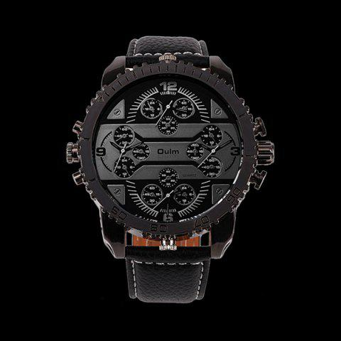 Store Big Dial Plate PU Leather Watch BLACK