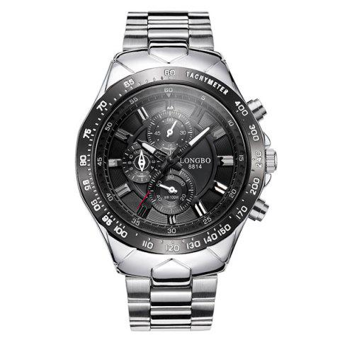 Latest Waterproof Tachymeter Metal Quartz Watch BLACK