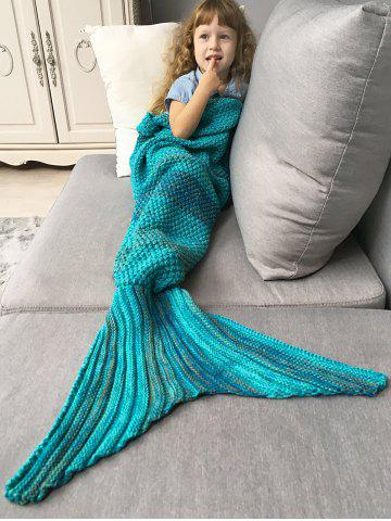 Doux Color Block Tricoté Sleeping Bag Blanket Wrap Mermaid Turquoise