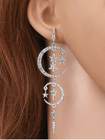 Chic Rhinestoned Stars Moon Drop Earrings