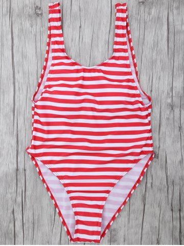 Trendy Striped High Leg Swimsuit RED WITH WHITE L