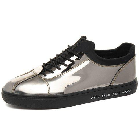 Shop Stretch Fabric Patent Leather Casual Shoes