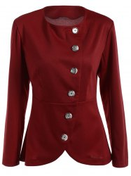 Asymmetric Button Up Blazer - WINE RED
